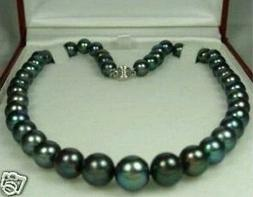 Charming!8-9MM Natural Black Pearl Necklace 18""