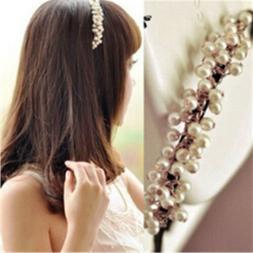 Chic White Pearl Beads Crystal Headband Girls Hairband Hair