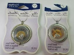 Blue Moon Beads Circle Story Lockets Charms Rhinestone Lot o
