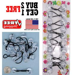 Clear Braid Girls Kids Scrunchie Jumbo Beads Hair Tie Ball P