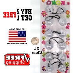 Clear Braid Girls Scrunchie Jumbo XL Beads Hair Tie Ball Pon