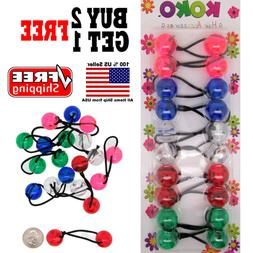 Clear Colorful Braid Girls Scrunchie Jumbo Beads Hair Tie Ba