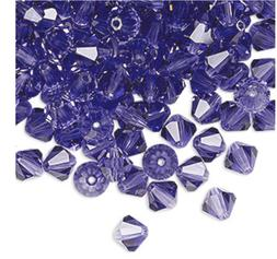 Closeout - 50 Tanzanite 6mm Preciosa Czech Crystal Bicone Be