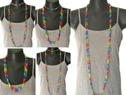 Colorful Rainbow Hippie Boho Glass Seed Bead Extra Long Wrap