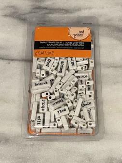 Bead Landing Crafting Word Beads White Black 5 Oz Plastic NE