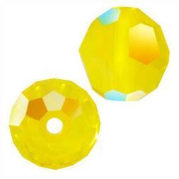 Swarovski Crystal, #5000 Round Beads 8mm, 8 Pieces, Yellow O