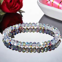 Crystal Aurora Borealis Transparent Geometric Beads Bracelet