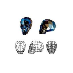 crystal beads faceted skull 5750 metallic blue