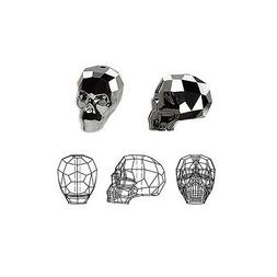 crystal beads faceted skull 5750 silver night