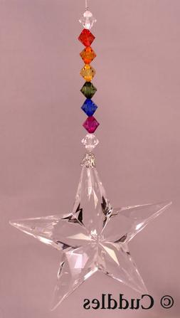 Crystal Expressions Rainbow Beaded Hanging Star Pendant Ganz