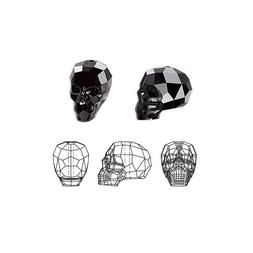 Swarovski Crystal Glass Beads Faceted Skull 5750 Jet 19x18x1