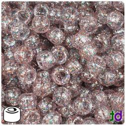 BeadTin Crystal Rainbow Sparkle 9mm Barrel Pony Beads