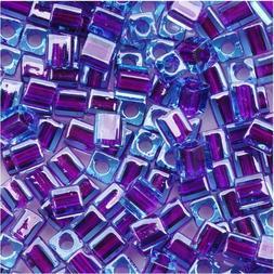 "Miyuki 4mm Cube Beads ""Purple Lined Blue"" #2651 10Gr"