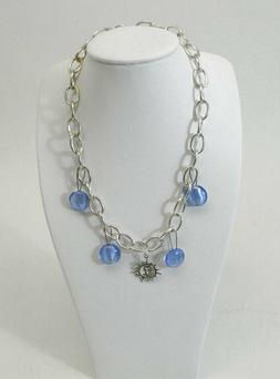 Custom Hand Made Necklace Silver Chain Link Blue Glass Beads