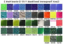 Czech 11/0 Transparent Rocaille Glass Seed Beads 12-strand H