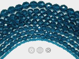 Czech Fire Polished Round Faceted Glass Beads in Dark Aqua 1