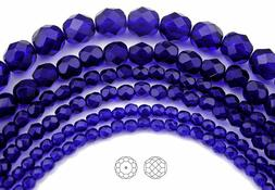 Czech Fire Polished Round Faceted Glass Beads Cobalt Blue, 1