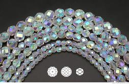 Czech Fire Polished Round Faceted Glass Beads in Crystal AB2