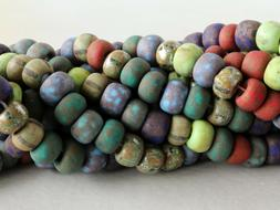 Czech Glass Aged Picaasso Beads, Matte Large Hole Seed Beads