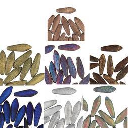 Czech Glass Dagger Drop 25 Beads New Etched Premium 2 hole 5