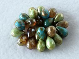 Czech Glass Drop Beads, Small Teardrop Briolette Beads  6x9m