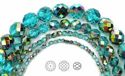Czech Glass Fire Polished Round Faceted Beads blue Aqua Vitr