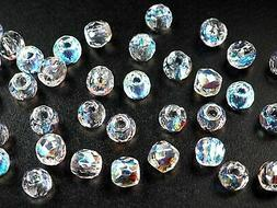 Czech Glass LARGE HOLE Faceted Beads 10mm  Crystal AB 40 pie