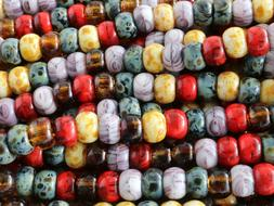 Czech Glass Seed Beads, Large Hole Picasso Mix Beads  2/0 6m