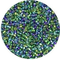 Czech Glass Seed Beads Size 11/0 Blue Green Silver Lined  Mi