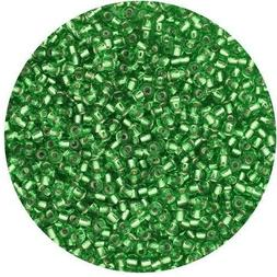 Czech Glass Seed Beads Size 11/0 Light Green Silver Lined