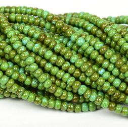 "Czech Glass Seed Beads Size 6/0 "" TRAVERTINE PICASSO TURQUOI"