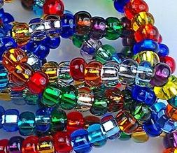 """Czech Glass Seed Beads Size 8/0 """" SILVER LINED COLORS MIXED"""