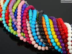 Czech Opaque Coated Glass Pearl Round Beads 16'' 4mm 6mm 8mm