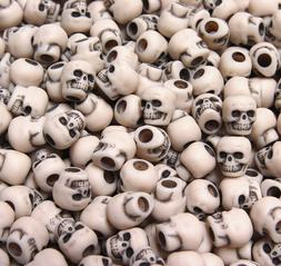 Dark Ivory color Skulls Pony Beads halloween crafts paracord