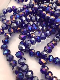 Dark Royal Blue round Glass Spacer Beads 10 X 7 X 1mm ~ 1 St