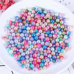 Decorative Craft Beads No Holes ABS Plastic Faux Pearls 6mm/