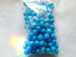 Deep aqua blue  6mm opaque beads with dark  blue splatter