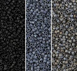 Miyuki Delica Seed Beads Size 11/0 Matte Gray / Black Collec