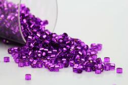 Miyuki Delicas 11/0 Silver Lined Violet Seed Beads DB-1345