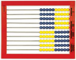Desktop Abacus 100 Beads Color Coded Red Frame Math Count Ad