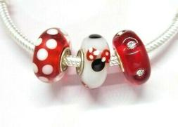 DISNEY MINNIE MOUSE MURANO GLASS BEADS ADD TO EUROPEAN STYLE