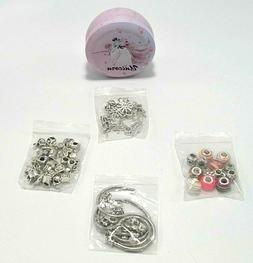 DIY Pink European Bead Charm Bracelet Making Kit Jewelry Sup