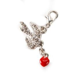Darice DOVE WITH HEART Charm with Lobster Clasp
