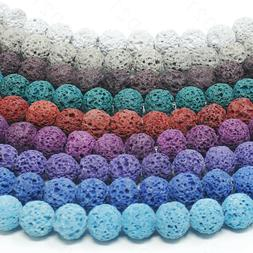 """Dyed Lava Rock Beads Natural Round Loose 8mm 15.5"""" Strand"""