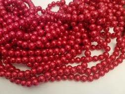 Dyed Red Glass Pearl Beads, Round, 10mm, Hole: 1mm - Qty 50