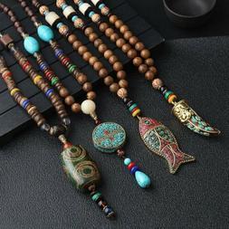 Ethnic Style Wooden Beads Pendant Necklace Tibetan Long Swea