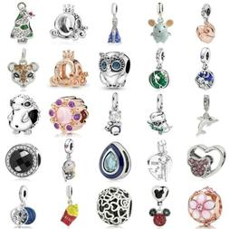 European Silver Charms Animal Beads Xmas Gift CZ Pendant Fit