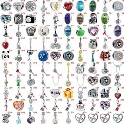 European Silver Crystal Heart Charms Beads CZ Pendant Fit 92