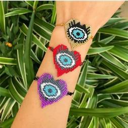 Evil Eye Heart Jewelry Women Beads Loom Bracelet