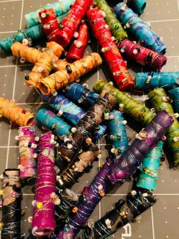 FABRIC BEADS - Mixed lot of 12 HANDMADE fabric beads for j